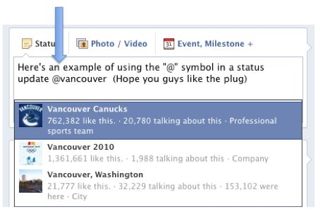 Example of Facebook Tagging